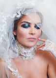 Portrait of bride with a veil and makeup Royalty Free Stock Photography