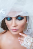 Portrait of bride with a veil and makeup Royalty Free Stock Photo