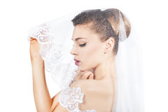 Portrait of the bride veiled veil. Royalty Free Stock Images