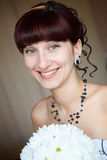 Portrait of the bride in the wedding car Royalty Free Stock Image