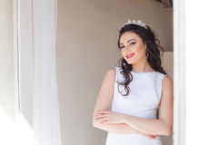 Portrait of bride wedding dress Crown Royalty Free Stock Photos