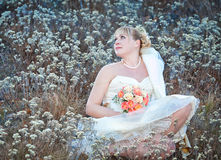 Portrait of bride  with  wedding flowers Royalty Free Stock Photos