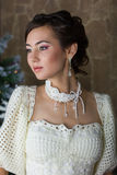 Portrait of a bride in a white dress Royalty Free Stock Image