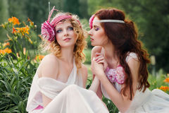 Portrait of a bridesmaid in a retro style. Portrait of two young women having a rest on the nature Stock Image