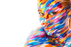 Portrait of the bright beautiful girl with art. Portrait of the bright beautiful emotional woman with art make-up royalty free stock photo
