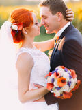 Portrait of bright happy redhair bride and handsome groom lovingly look at each other in the sunny sunflower field Stock Photos