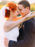 Portrait of bright happy redhair bride and handsome groom lovingly look at each other in the sunny sunflower field Stock Photography
