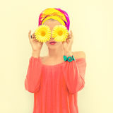 Portrait of a bright summer girl Royalty Free Stock Images