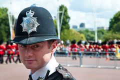 Portrait of British Police Officer. British police officer in front of Buckingham Palace during changing of the guard, London Royalty Free Stock Photos