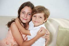 Happy siblings stock photo