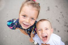 Portrait of brother and sister outdoor royalty free stock image