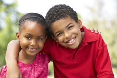 Portrait Of Brother And Sister In Park Royalty Free Stock Photography