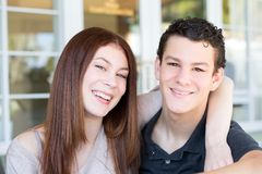Portrait of a brother and sister smiling. Royalty Free Stock Photos