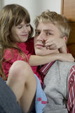 Portrait of brother with young sister Royalty Free Stock Photo