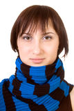 Portrait brown-eyed lady in a blue-black scarf. Closeup. Isolated on white royalty free stock images
