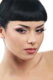 Portrait of brunet. With long false eyelashes Royalty Free Stock Photography