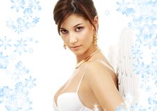 Portrait of brunette angel girl Royalty Free Stock Images