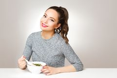 Brunette beauty with asian food. Royalty Free Stock Image