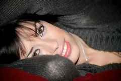 Portrait of brunette with big eyes. And big lips Royalty Free Stock Image
