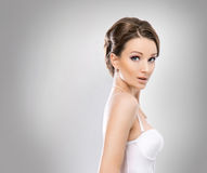 Portrait of a brunette bride in erotic clothes Royalty Free Stock Photo