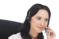 Portrait of brunette call-center operator Stock Photography