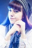 Portrait of Brunette Caucasian Girl in Winter Long Hat in Studio Stock Image
