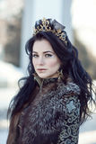 Portrait of a brunette in furs. In a winter frosty day Royalty Free Stock Photography