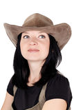 Portrait of brunette girl with a hat Royalty Free Stock Photos