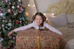 Portrait of brunette girl with a huge gift royalty free stock images