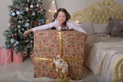 Portrait of brunette girl with a huge gift stock image
