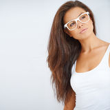 Portrait of brunette girl wearing glasses Stock Photo