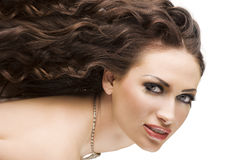 Portrait brunette with hairstyle Stock Photography