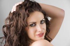 Portrait brunette with long eyelashes Stock Photo