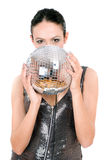 Portrait of brunette with a mirror ball Royalty Free Stock Photo