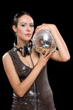 Portrait of brunette with a mirror ball Stock Photography