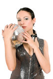 Portrait of brunette with a mirror ball Stock Image