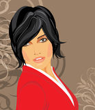 Portrait of brunette in a red blouse Royalty Free Stock Photo
