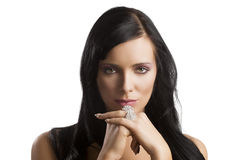 Portrait brunette with rings Royalty Free Stock Photo