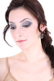 Portrait of a brunette with smoky eyes Stock Photography
