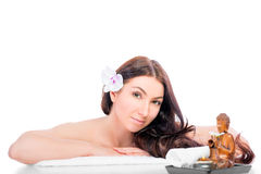 Portrait of a brunette  on a spa proced Stock Photos