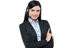 Portrait of brunette support phone operator with the headset. Stock Photography