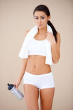 Portrait of brunette woman after fitness Royalty Free Stock Image