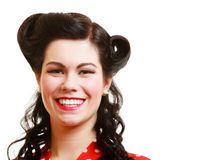 Portrait brunette woman pin-up girl with retro hairstyle isolated Stock Photos