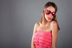 Portrait brunette woman with sleeping mask Royalty Free Stock Photography