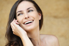 Portrait of brunette woman speaking Royalty Free Stock Photo