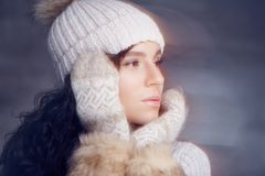 Portrait of brunette woman in warm winter hat. Portrait of brunette woman in warm winter hat and fur gloves Royalty Free Stock Photos