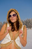 Portrait of brunette woman in winter Royalty Free Stock Image