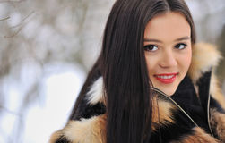 Portrait of brunette young woman in fur coat at winter backgroun Stock Images