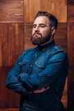 Portrait of Brutal bearded man thinking royalty free stock photography