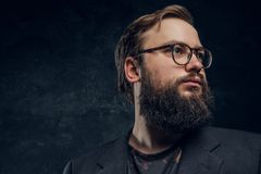 Portrait of a brutal hipster in glasses royalty free stock image